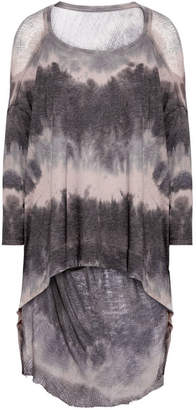 Raquel Allegra Distressed Tie-dyed Cotton-blend Jersey Top - Gray