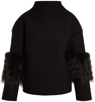 SAKS POTTS Bille fur-trimmed wool sweater