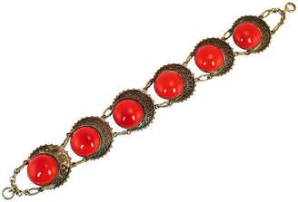 One Kings Lane Vintage 1920s Czech Red Glass Eye Bracelet - Neil Zevnik