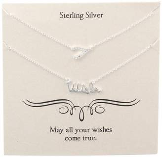 "Sterling Crystal Wishbone and ""Wish"" Necklaces"