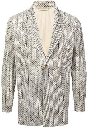 Issey Miyake Homme Plissé embroidered fitted blazer