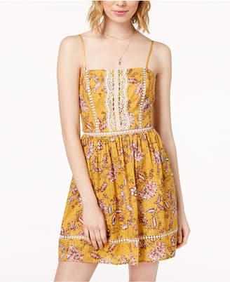 City Studios Juniors' Crochet-Inset Printed Dress
