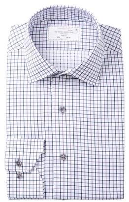 Lorenzo Uomo Boxed Check Trim Fit Dress Shirt