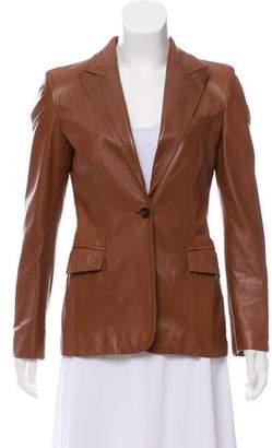 Gucci Leather Peak-Lapel Blazer