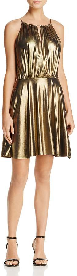 Aqua Metallic Fit-and-Flare Dress - 100% Exclusive