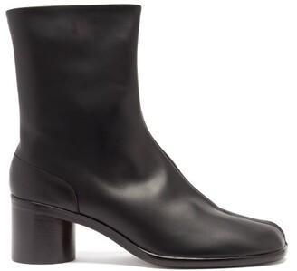 Maison Margiela Tabi Split Toe Leather Ankle Boots - Mens - Black