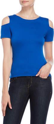 Karen Millen Blue Essential Cold Shoulder Tee