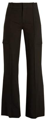 Chloé Wide Leg Crepe Trousers - Womens - Black