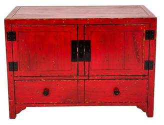 Red Painted Asian Cabinet