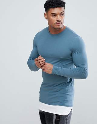 Asos DESIGN longline long sleeve muscle fit t-shirt with contrast hem extender in blue