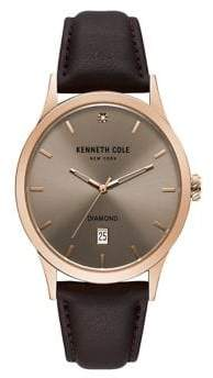Kenneth Cole Stainless Steel Analog Leather Strap Watch