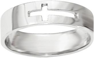 14K White Gold Cross Cutout Ring