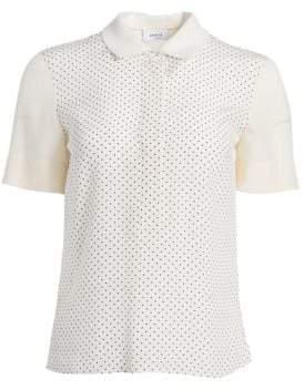 Akris Punto Mini Polka-Dot Silk Polo Knit Tee