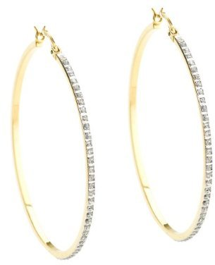 18Kt. Gold Over Sterling Silver Diamond Accent Large Round Hoop Earrings - Yellow