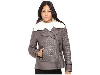 Via Spiga Asymmetrical Croc Like Quilted Bomber with Removable Luxe Faux Fur Collar Women's Coat