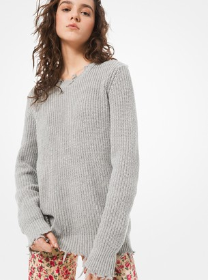 Michael Kors Cotton and Cashmere Distressed Sweater