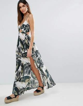 ASOS Beach Maxi Dress With Strap Detail in Mono Palm Print $51 thestylecure.com