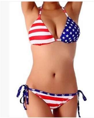 f912033ae5 R-LivE R LivE Womens Twist Bandeau Padded Bikini Set USA Flag Swimsuit  Swimwear