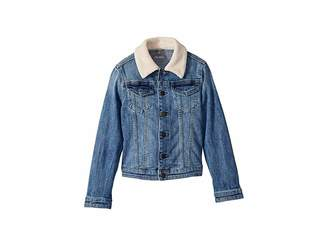 DL1961 Kids Manning Mid Wash Denim Jacket with Pink Sherpa Collar and Heart Embroidered On Back (Toddler/Little Kids)