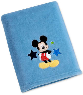 Disney Mickey Mouse Embroidered Applique Plush Blanket Bedding