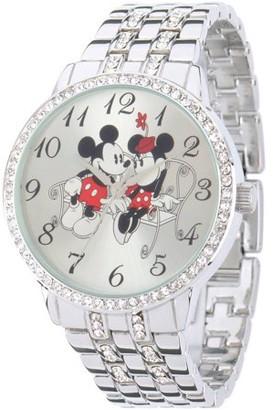 Disney Mouse Women's Silver Alloy Watch With Glitz, Silver Alloy Bracelet