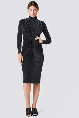 boohoo Metallic High Neck Dress Black