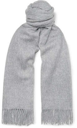 Mulberry Fringed Melange Wool Scarf - Gray