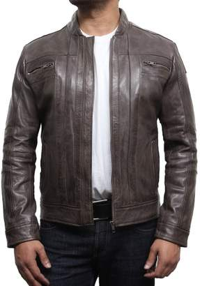 Brandslock Mens Leather Biker Jacket Retro Vintage Iconic Style