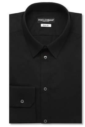 Dolce & Gabbana Black Gold-Fit Cotton-Blend Shirt