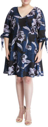 Alexia Admor Plus Tie-Sleeve V-Neck Fit-&-Flare Dress, Plus Size