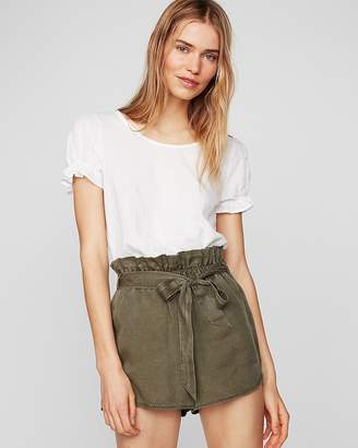 Express High Waisted Silky Soft Twill Tie Front Utility Shorts