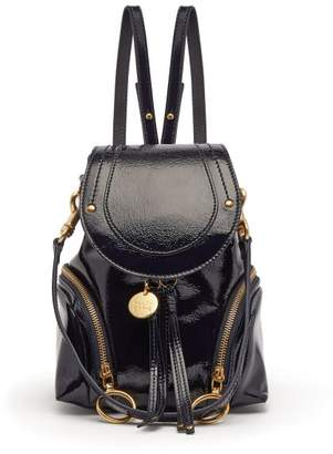 See By Chloé - Olga Patent Leather Mini Backpack - Womens - Navy