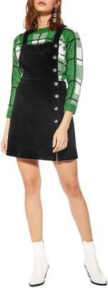 Topshop Button Corduroy Pinafore Dress