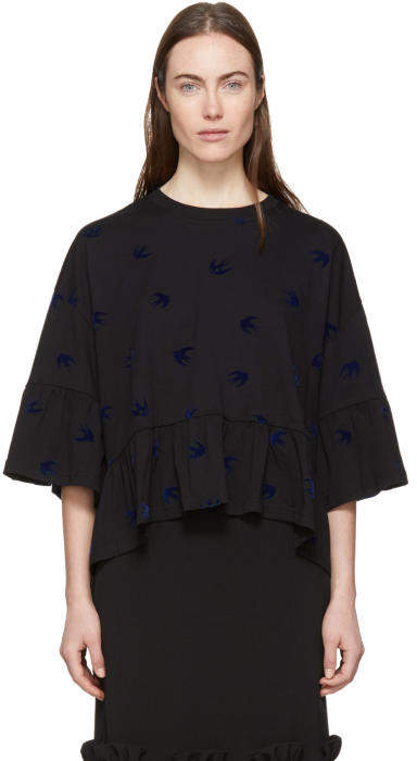 McQ Alexander McQueen Black Swallow Flock Ruffled T-Shirt
