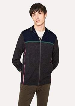 Paul Smith Men's Grey Marl And Navy Colour-Block Merino Wool Funnel-Neck Zip Sweater