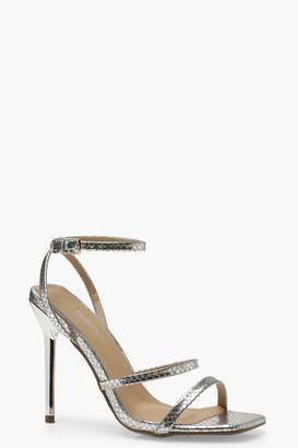 boohoo Wide Fit Snake Metallic Heels