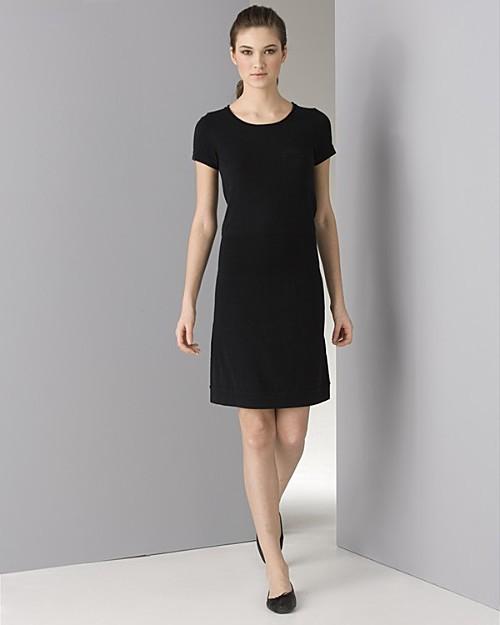 James Perse Women's Cotton/Cashmere Short Sleeve Black Dress