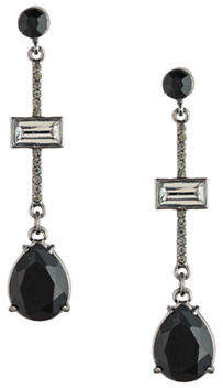 Carolee Midnight Tower Black Diamond and Crystal Pave Stick Linear Earrings