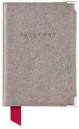 Aspinal of London Plain Passport Cover In Gunmetal Saffiano Deep Fuchsia Suede