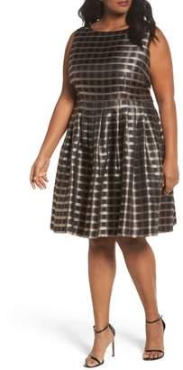 Tahari Metallic Jacquard Fit & Flare Dress