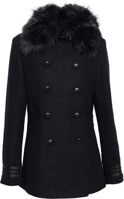 Line Ellis Double-breasted Faux Fur-trimmed Brushed-felt Coat