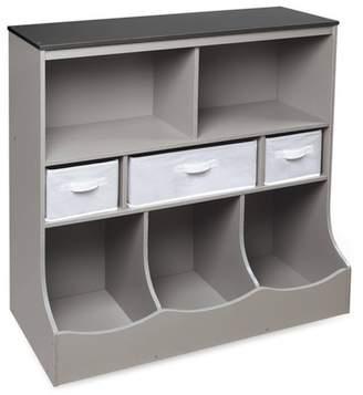 Badger Basket Combo Bin Storage Unit with Three Baskets Gray