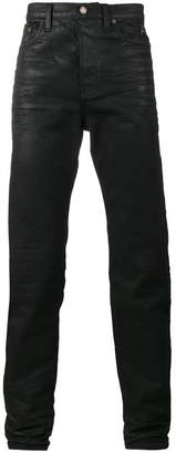 Saint Laurent Black Wax coated slim fit jeans