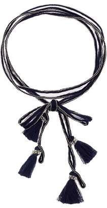 Chan Luu Chiffon Solid Necktie with Tassels Necklace
