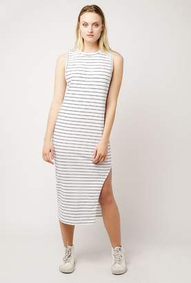 Azalea Stripe Crew Midi Slit Dress