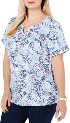 Karen Scott Plus Printed Split Neck Top