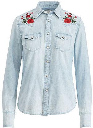 Ralph Lauren Denim & Supply Embroidered Chambray Shirt $165 thestylecure.com