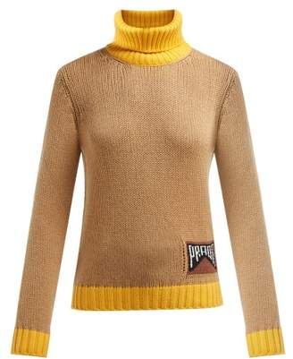 Prada Roll Neck Cashmere Blend Sweater - Womens - Camel