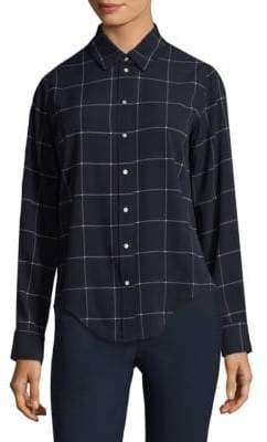 Classic Plaid Button-Down Blouse