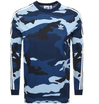 adidas Long Sleeve Camo T Shirt Blue